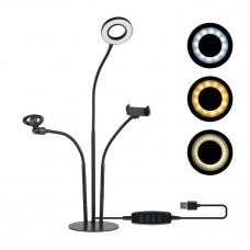Набор Блогера 3в1. Гибкий Штатив с LED Кольцом, Держатель для Смартфона, Микрофона на Подставке