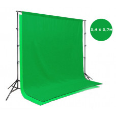 Зеленый фон 2,4х2,7м хромакей для видео