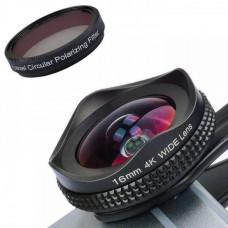 Широкоугольный объектив для телефона с CPL фильтром Apexel APL-16MMH