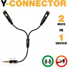 Разветвитель для наушников PowerDeWise - Y-Splitter c 2 микрофонами