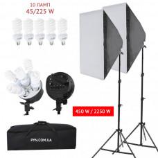 Набор постоянного света Menik Y-246 (2 софтбокса 60*90, 10 ламп*45 Вт, 2 стойки 2м, сумка)